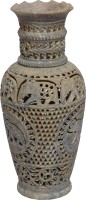 Artist Haat Natural soapstone with carving art Stoneware Vase(10 inch, Beige)