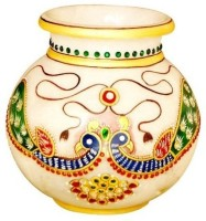 Shreeng Peacock Design Marble Lota Gold Plated Vase(5 inch, Multicolor)