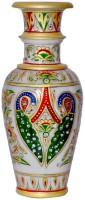 Pooja Creation Stoneware Vase(8 inch, White)