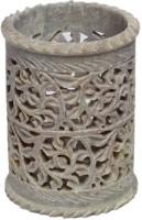 Pooja Creation Stoneware Vase(9 inch, White)