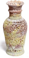 Pooja Creation Stoneware Vase(10 inch, White)