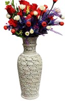 Pooja Creation Stoneware Vase(12 inch, White)