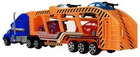 MK Trading Friction Power Sport Express Semi Truck Car Carrier W/4 Race Cars For Kids (Colors May Vary)(Multicolor)
