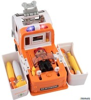 Memtes � Ambulance Rescue Doctor Vehicle Toy Set With Operation, Medical Tools, Lights And Sound, Bump And Go Action(Multicolor)
