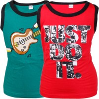 Gkidz Boys Printed Cotton T Shirt(Red Pack of 2)