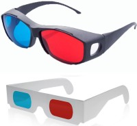 Hrinkar Updated Version 1 Plastic + 1 Paper Video Glasses(Black, white)