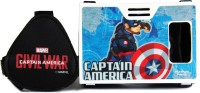 AuraVR Official Marvel Civil War Captain America With Shining Shield Virtual Reality Viewer (VR Headset) Video Glasses(Black-White)