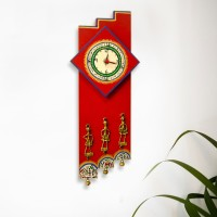 ExclusiveLane Analog Wall Clock(Red, Without Glass)