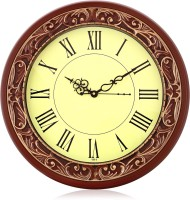 Arete Sonic101 Brown Roman Numeral Analog 36 cm Dia Wall Clock(Brown, With Glass)