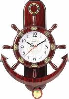 Fieesta Analog 47 cm X 35 cm Wall Clock(Red, With Glass)