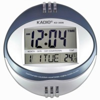 Kadio Digital Wall Clock(Blue, Silver, Without Glass)