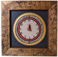 ExclusiveLane Analog Wall Clock(Gold, Black, Without Glass)