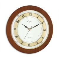 Opal Analog 24 cm X 24 cm Wall Clock(Brown, With Glass)