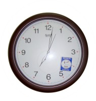 Ajanta Analog Wall Clock(Brown, With Glass)