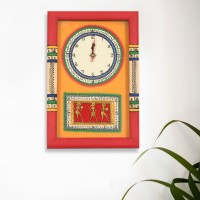 ExclusiveLane Analog Wall Clock(Red, Yellow, With Glass)