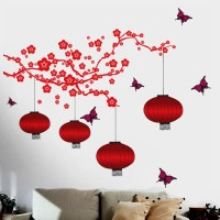 Happy walls Bright Red Chinese Lamps(180 cm X cm 175, Multicolor)