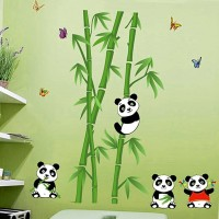 Happy walls Panda Pals With Lush Green Bamboo Trees(114 cm X cm 106, Multicolor)