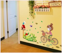 Oren Empower Cute Cartoon - A Little Charming Girl Riding on Her Bike Large Wall Sticker(80 cm X cm 120, Multicolor)