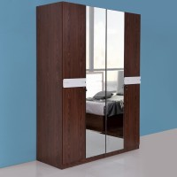 View Evok Lukas Engineered Wood 4 Door Wardrobe(Finish Color - White + Walnut, Mirror Included) Furniture (Evok)