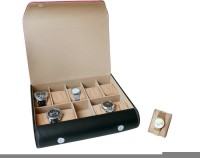 Essart Case 12 Watch Box(Black, Red, Holds 10 Watches)
