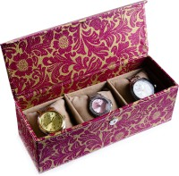 Ecoleatherette Handcrafted Watch Box(Multicolour Holds 3 Watches)
