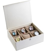 Ecoleatherette Deco Watch Box(Multicolour Holds 6 Watches)