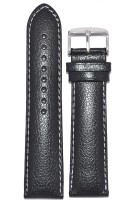 KOLET Dotted White Stiched 22B 22 mm Genuine Leather Watch Strap(Black)