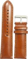 KOLET Plain Padded 24 mm Genuine Leather Watch Strap(Tan)