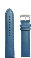 KOLET Plain Padded 22 mm Genuine Leather Watch Strap(Blue)