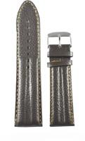 KOLET Half Padded 18 mm Genuine Leather Watch Strap(Dark Brown)