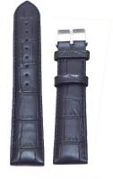 KOLET Croco Padded 20 mm Genuine Leather Watch Strap(Black)