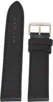 KOLET Plain B 20 mm Genuine Leather Watch Strap(Black)