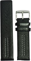 KOLET Parallel Dotted 20 mm Genuine Leather Watch Strap(Black)