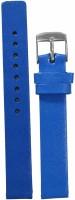 KOLET Glossy Finish 14 mm Genuine Leather Watch Strap(Blue)
