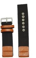 KOLET Denim 22T 22 mm Genuine Leather Watch Strap(Black, Tan)