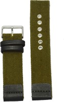 KOLET Denim 22 mm Genuine Leather Watch Strap(Green, Black)