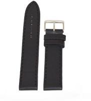 KOLET Plain Matte Finish 22 mm Genuine Leather Watch Strap(Black)