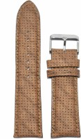 KOLET Padded Dotted Texture 22 mm Genuine Leather Watch Strap(Beige)