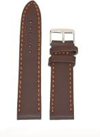 KOLET Plain Matte Finish 18 mm Genuine Leather Watch Strap(Brown)