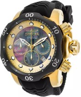 Invicta Venom Chronograph Black Silicone Black MOP Dial 18K GP SS Watch  - For Men