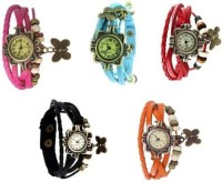 Trend Factory Vintage Butterfly Combo Set 5 Analog Watch  - For Girls