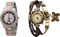 COSMIC Stainless Steel Diamond Studded Copper-Silver Theme Designer Woman Watch with Free Bracelet Watch X-500 Watch  - For Women