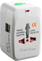 Care Case 2 Usb Travel Universal Adapter (AU EU UK US) Good Quality International Worldwide Adaptor(White)