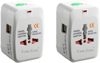 Care Case Set Of 2-2 Usb Travel Adapter Universal (AU EU UK US) Good Quality International Worldwide Adaptor(White)