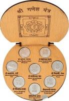 Siri Creations 999 Pure Astha Vinayaka Coins And Ganesha Big Size Silver Yantra(Pack of 1)
