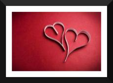 Tallenge - Valentine's Day Gift - Red Love Hearts - Premium Quality A3 Size Framed Poster Paper Print