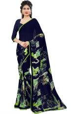 5ef1a45cff kalaa varsha floral print daily wear synthetic georgette saree(blue, green)