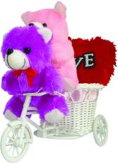 Tiedribbons 2 Small Teddy With A Cycle And A Red Heart Valentine Gift Set