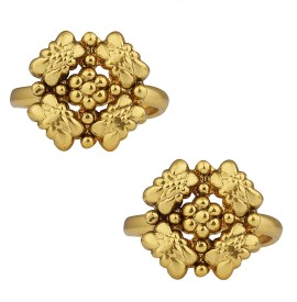 Spargz Indian Style Gold Plated Adjustable Antique Toe Ring For Women Alloy Toe Anklet(Pack of 2)