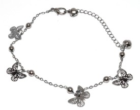 Sansar India Butterfly Charms Chain Alloy Anklet